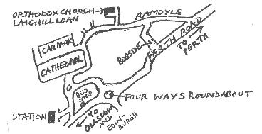 Sketch map of route to church in Dunblane